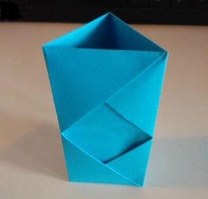 折纸笔筒图解六孔六色的创意笔筒