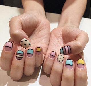 短指甲美甲图案 最新短指甲美甲图案