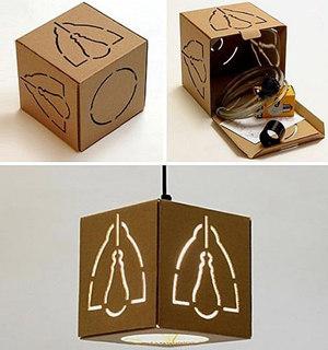 旧纸箱手工制作之手工制作大号纸箱灯