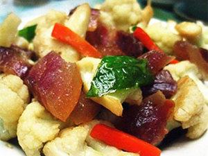 花菜炒腊肉的做法