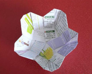 折纸垃圾盒图解 有趣的花瓣式垃圾盒图解
